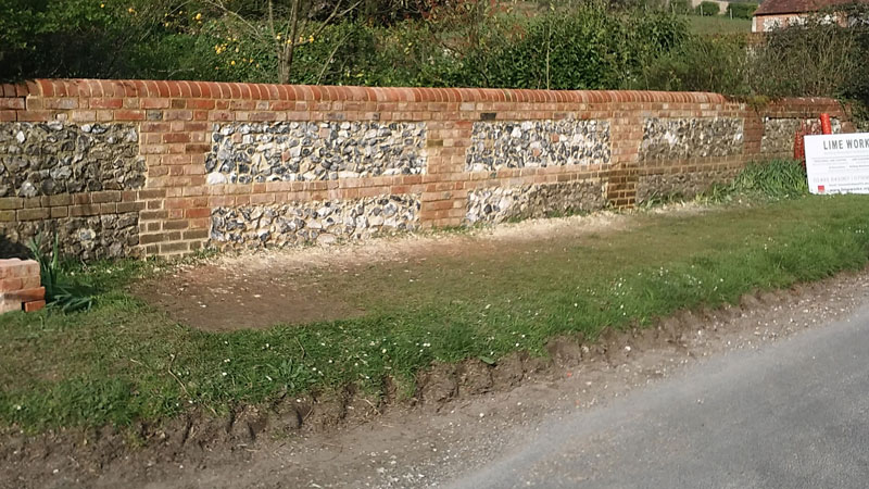 New flint & brick garden wall 3 - Our Work - Lime Works