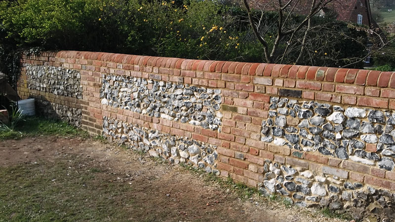 New flint & brick garden wall 5 - Our Work - Lime Works