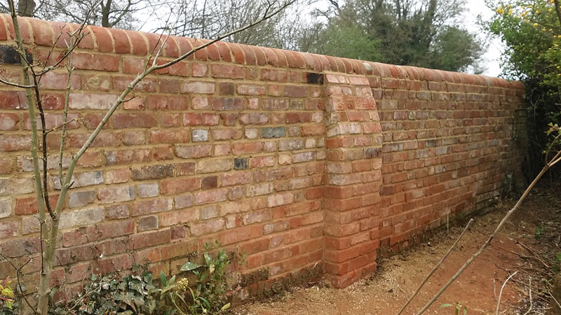 New flint & brick garden wall 2 - Our Work - Lime Works