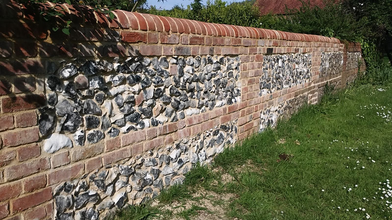 New flint & brick garden wall 4 - Our Work - Lime Works